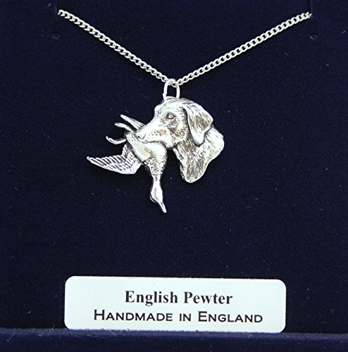 Labrador With Duck Pendant Necklace In Fine English Pewter (Gift Boxed)