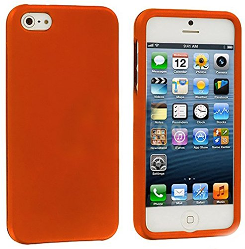 Mylife Orange Flat Series (2 Piece Snap On) Hardshell Plates Case For The Iphone 5/5S (5G) 5Th Generation Touch Phone (Clip Fitted Front And Back Solid Cover Case + Rubberized Tough Armor Skin)
