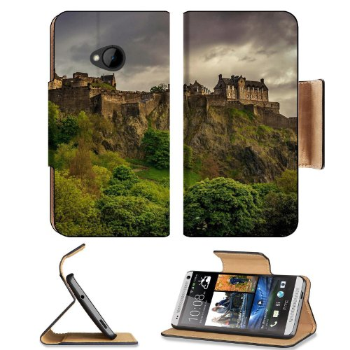 Landscapes Castles Trees Europe Scotland Htc One M7 Flip Cover Case With Card Holder Customized Made To Order Support Ready Premium Deluxe Pu Leather 5 11/16 Inch (145Mm) X 2 15/16 Inch (75Mm) X 9/16 Inch (14Mm) Msd Htc One Professional Cases Accessories