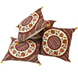 Little India Floral Block Print Cotton 5 Piece Cushion Cover - Multicolor