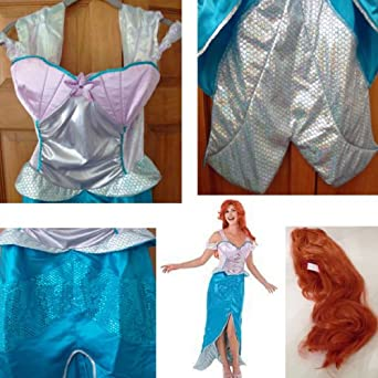 DISNEY PRINCESS ARIEL THE LITTLE MERMAID COSTUME DELUXE COSTUME WITH WIG ...