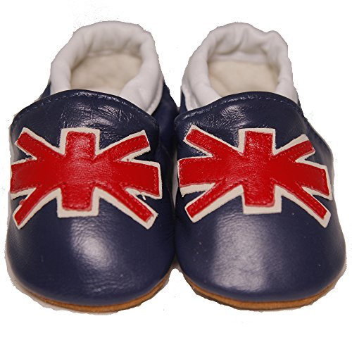 Baby Conda Handmade Cute British Flag - Union Jack Baby Moccasins * 100% Genuine Leather * Soft Sole Slip on Baby Shoes * 100% Money Back Guarantee Size 12 - 18 Months (British Baby compare prices)