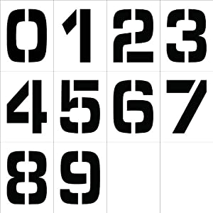 """NMC PMN12 """"0-9"""" Stencil Number Set, 12"""" Width x 16"""" Height (Pack of 12"""