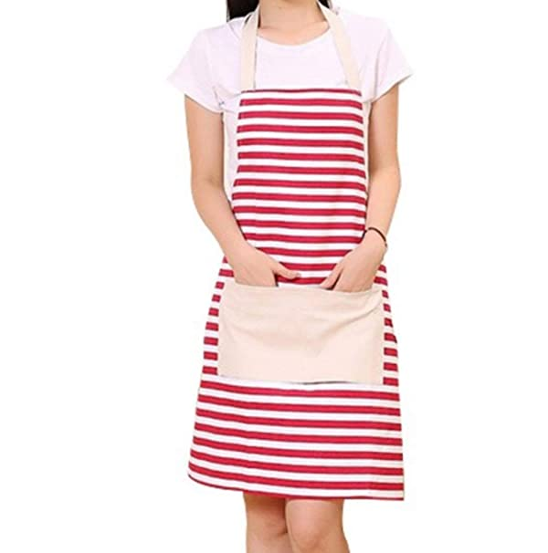Cotton Canvas Womens Apron with Convenient Pocket Durable Kitchen and Cooking Apron for Women Professional Stripe Chef Apron for Cooking Grill and Baking Red Stripe