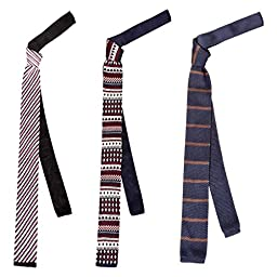 BMC Stylish 3pc Mixed Pattern Mens Fashion Knitted Neck Tie Accessory Set - Hipster Swag
