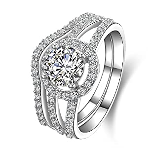Jewelrypalace Women's Solid 925 Sterling Silver 1.6ct Cubic Zirconia CZ Wedding Band Anniversary Engagement Ring Set Size 6