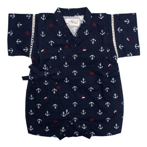 甚平 ロンパース ベビー 男の子 綿100% 日本製生地 マリン 和柄 じんべい ロンパース 甚平 ネイビー 70cm