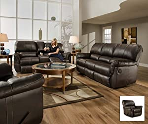 SIMMONS 50365 BLACKJACK BROWN LEATHER THEATER CUPHOLDERS STORAGE RECLINING CHAIR