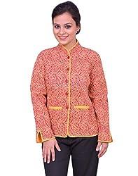Chhipa Women Hand Printed Red Jacket(1031_Red_42)