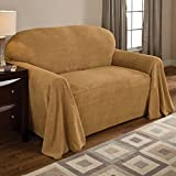 Innovative Textile Solutions Coral Fleece Furniture Throw, 70 by 170-Inch, Wheat