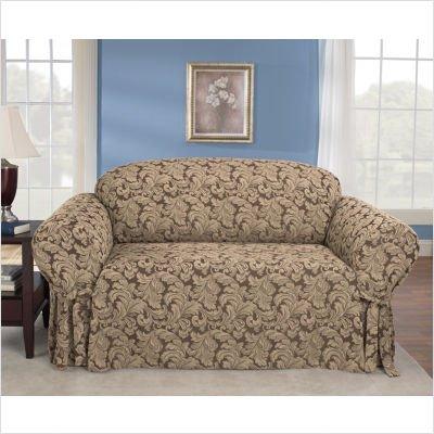 Scroll Classic Fit Sofa Slipcover (Box Cushion) Fabric: Blue