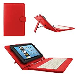 ECellStreet TM PU Leather Protective Keyboard Flip Case Cover With Stand For Lava Ivory - Red