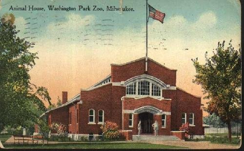 antigua-postal-old-postcard-animal-house-washington-park-zoo-milwaukee-usa-estados-unidos