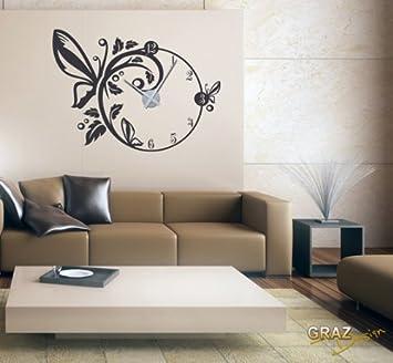 Vinilo de pared decoraci n de pared con reloj mariposa - Vinilos pared salon ...