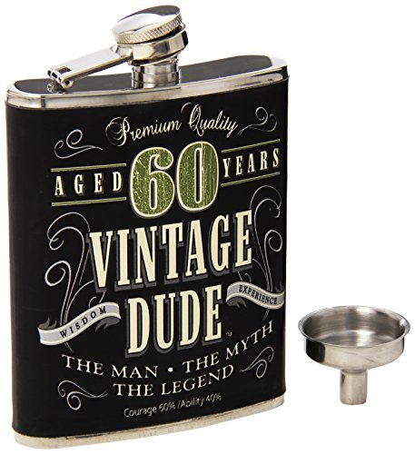 Laid Back CF11020 60th BD Vintage Dude Flask, 7-Ounce