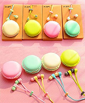 Zerowin Cute 3.5mm in Ear Earphones Earbuds Headset with Macaron Earphone Organizer Box Case for iPhone,for Samsung,for Mp3 iPod Pc Music (Pink)
