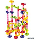 Memtes Marble Run Race Coaster 105 Piece Set With 75 Building Blocks Plus 30 Race Marbles Learning Railway Construction...
