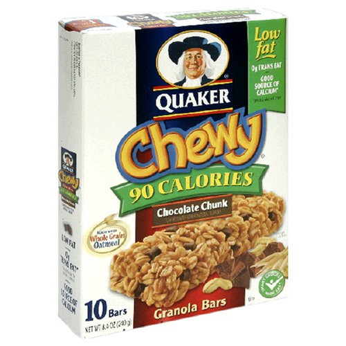 Quaker Chewy Granola Bar Low Fat Chocolate Chunk, 10-Count Boxes (Pack of 12)