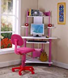 Kings Brand Pink Finish Corner Workstation Kids Childrens Computer Desk
