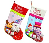 Yamuda 2 Pcs Set Classic Christmas Stockings Children Christmas Stockings (Pink/Blue) Christmas Decoration