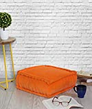 Store Indya Orange Bean Bag / Floor Cushion for Living Room Stuffed with Soft Cotton Hand Woven Velvet