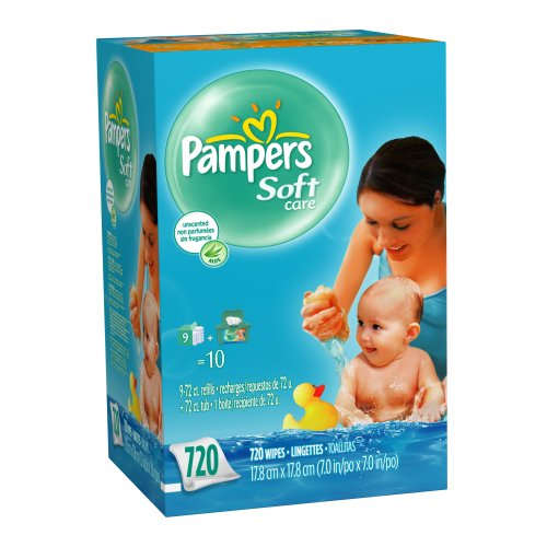 Pampers SoftCare Unscented Wipes, 720 Count
