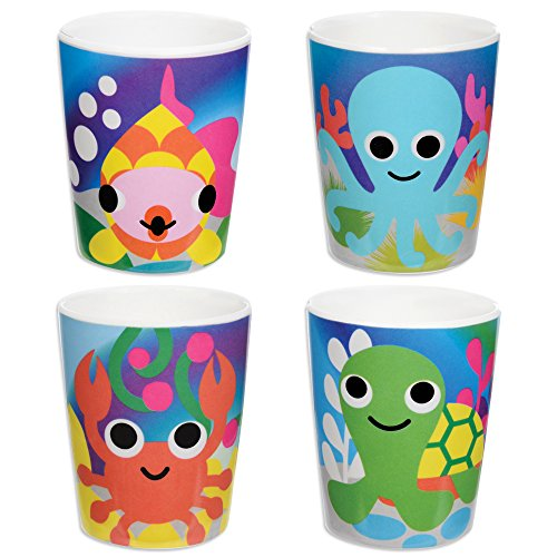 French Bull - BPA Free Kids Cups - 6 ounce Melamine Kids Juice Cup Set - Ocean, Set of 4