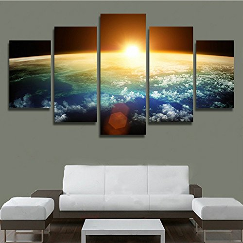 H.COZY 5 Panel Modern Sunrise Space Universe Picture Painting Cuadros Wall Decor Canvas Art Home Decor For Living Room(No Frame) Unframed FCR37 50 inch x30 inch (Universe Pictures compare prices)