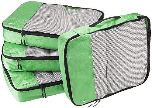 AmazonBasics Lot de 4sacoches de rangement pour bagage TailleL, Vert