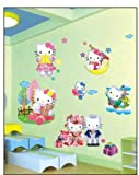 ENFANTS STICKERS MURAUX GRAND DISNEY HELLO KITTY 3D EFFET bonjour minou AUTOCOLLANTS FILLES CHAMBRE DE MUR CHAMBRE DECOR Décoration Sticker Adhesif Mural Géant Répositionnable...