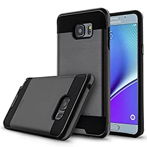 Note 5 Case,Galaxy Note 5 Case,eTzone Heavy Duty Armor Hybrid High Impact Full-body Case with Kickstand For Note 5 (Steel Brushed Black)