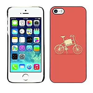 Omega Covers - Snap on Hard Back Case Cover Shell FOR Apple iPhone 5 / 5S - Peach Bicycle Minimalist Yellow