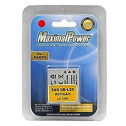 Maximal Power DB DB SAN DB-L20 X2 2PCS Maximalpower Replacement Battery for Sanyo DB-L20 and Xacti VPC-E1 E6 C6 CG6 CG9 C40 CA6 E1BL CA65 CG6BL C1 E60 E6U Camera (Black)