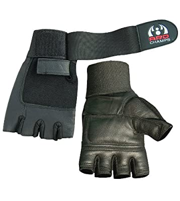 Leather Weight Lifting Gloves Long Wrist Wrap Gloves Power Lifting Lifter PADDED Palm Exercise Fitness Gloves Strengthen Gloves Home Gym by ZOR
