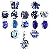 N'joy 16PC Assorted Crystal Rhinestone Charm Beads,Clap,Stoper,Dangle Pendant,Fit European Charm Bracelet,April Birthstone (Flower-Blue)
