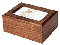Pet Memorials MDF Pet Photo Cremation Urn, Natural Finish