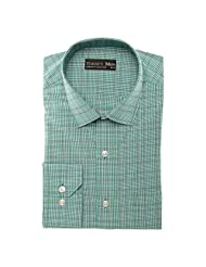 Today's Men Men's Formal Shirt Double Fused Collar ( Green ) - B00RYWIVQM