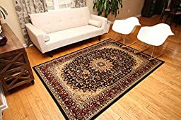 New City Black Traditional Isfahan Wool Persian Area Rugs 5\'2 x 7\'3