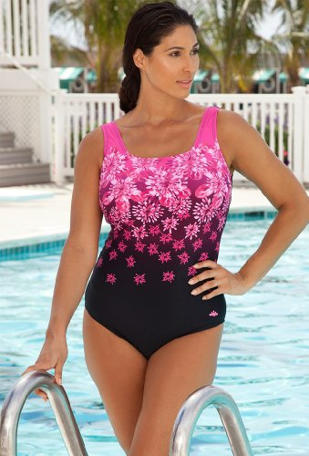 Aquabelle Chlorine Resistant! Pink Exploded Floral Plus Size Swimsuit Women's Swimwear - Pink - Size:18