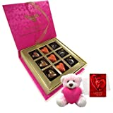 Elegant Combination Of Love Chocolates With Teddy And Love Card - Chocholik Belgium Chocolates