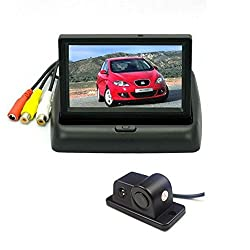 Alria 2in1 Car Parking Sensor Reversing Radar Rear Camera with 4.3'' Foldable LCD TFT Monitor