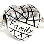 Antiqued Silver Family on Heart Bead...