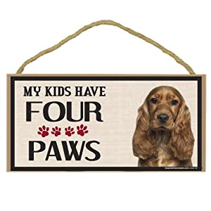 Imagine This Wood Breed Four Paws Sign, Cocker Spaniel