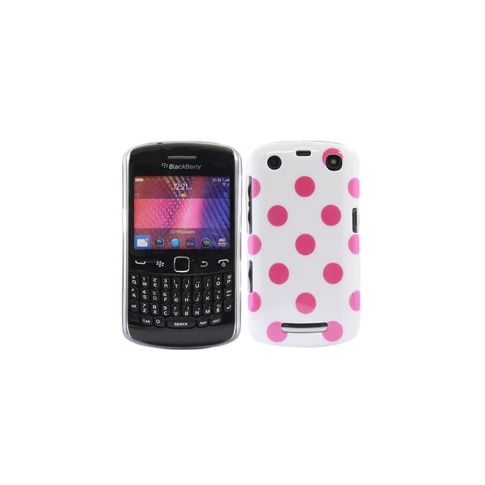 iTALKonline IMPERIAL WHITE PINK POLKA DOTS Pattern Super Slim Hydro Hard Protective Armour/Case/Skin/Cover/Shell for BlackBerry 9360 Curve