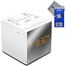 Sony Dual Alarm Clock with Extendable Snooze, AM/FM Radio, Built-in Calendar, Large LED Display, & Battery Backup (White) + HeroFiber® Ultra Gentle Cleaning Cloth