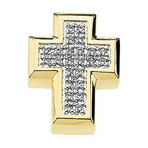 IceCarats Designer Jewelry 14K Yellow Gold Diamond Cross Pendant