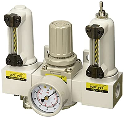 "PneumaticPlus SAU2000M-N02G-MEP Mini Three-Unit Combo Compressed Air Filter Regulator Lubricator FRL, Air Preparation Unit 1/4"" NPT - Metal Bowl, Manual Drain, Gauge"