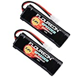 FLOUREON 7.2V 3500mAh NiMH 6 Cell Rechargeable RC Battery Pack with Tamiya Plug for Popular Standard RC Cars including Traxxas LOSI mAssociated HPI Tamiya Kyosho (2pack)