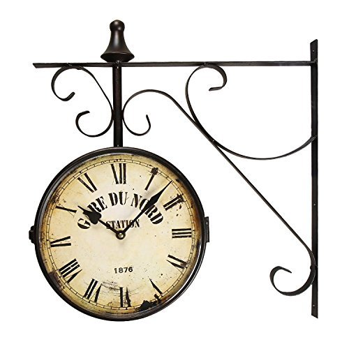 [Special Summer Deal !] Adeco Black Wrought Iron Vintage-Inspired Train Railway Station style Round Gard Du Nord Station Double Side Two faces Wall Hanging Clock with Scroll Side Mount Home Decor