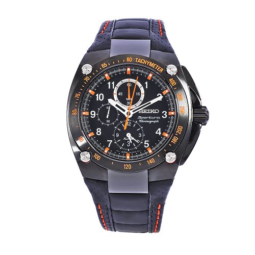 Seiko Men'S Snae37 Diver'S Stainless Steel Black Chronograph Dial Watch